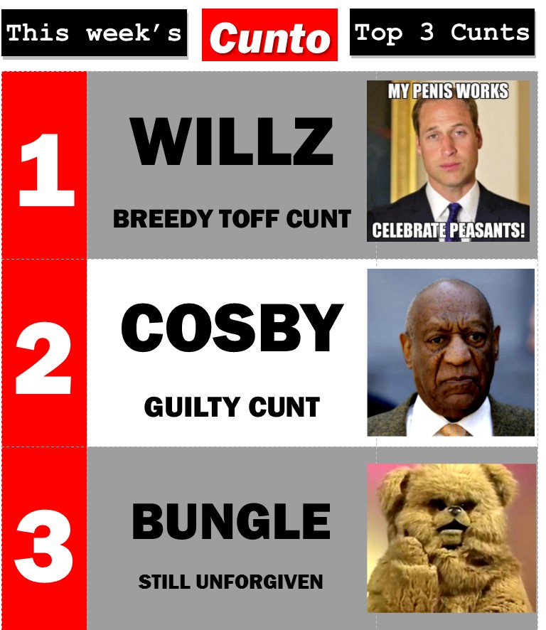 Prince William Bill Cosby and Bungle All Cunts