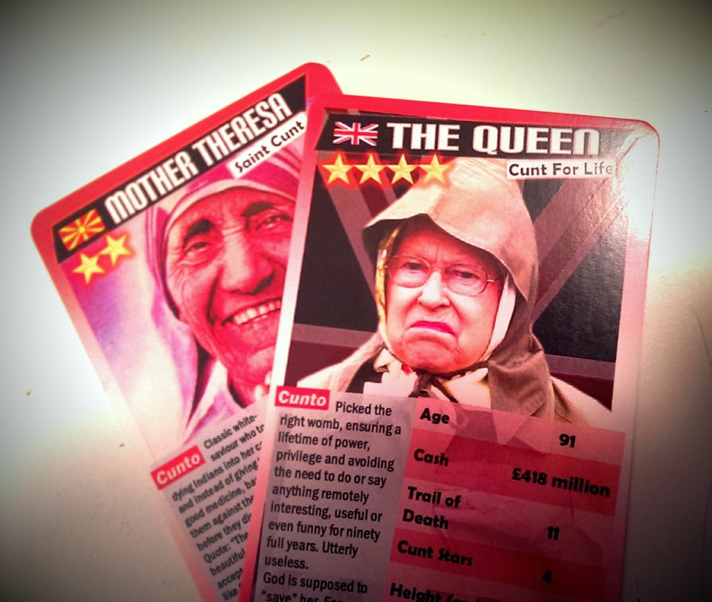 The Queen and Mother Teresa in Cunto Card format