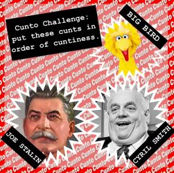 Big Bird, Joe Stalin, Cyril Smith