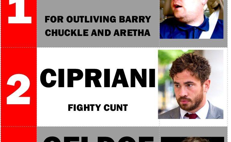 Cunts of the week Corden Cipriani Geldof