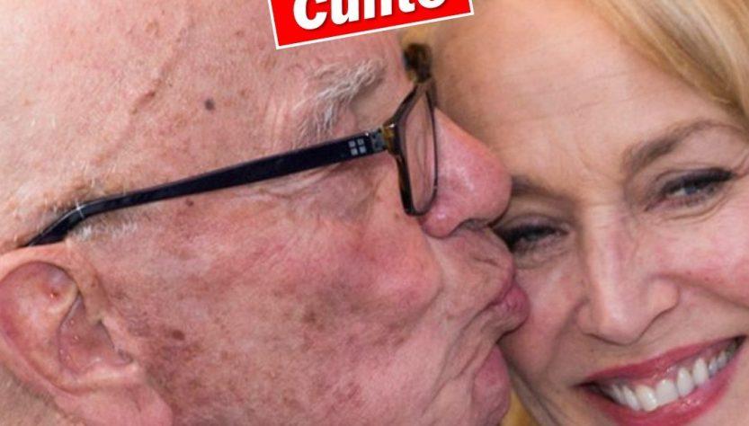 Rupert Murdoch kissing Jerry Hall