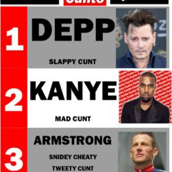 Johnny Depp, Kanye West, Lance Armstrong, Cunts