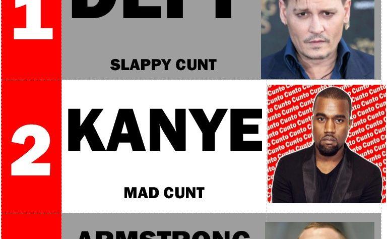 Johnny Depp, Kanye West, Lance Armstrong, Cunts