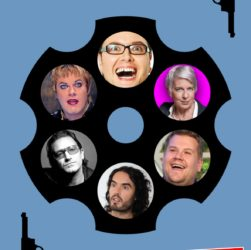 Alan Carr, Eddie Izzard, Katie Hopkins, Bono, James Corden, Russell Brand, all playing Russian Roulette