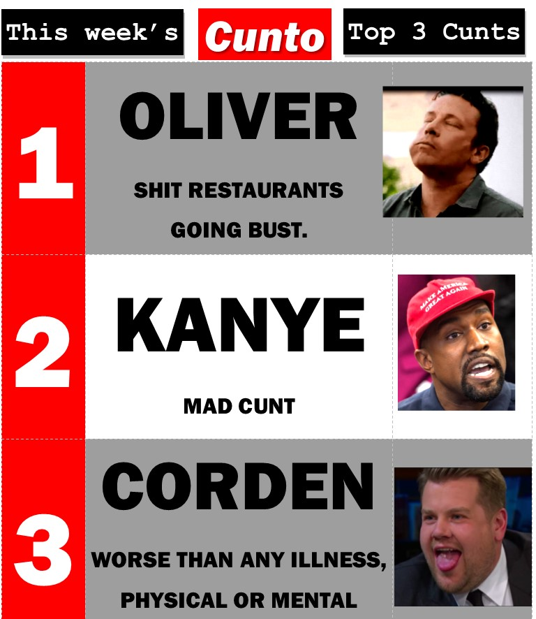 Top 3 Cunts of The Week: Jamie Oliver, Kanye West, James Corden