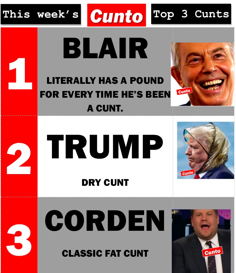Top 3 Cunts of the week - Blair, Trump, Corden