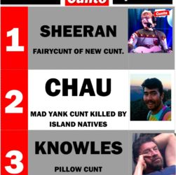 Top 3 Cunts of the week including Ed Sheeran, John Allen Chau and Nick Fucking Knowles