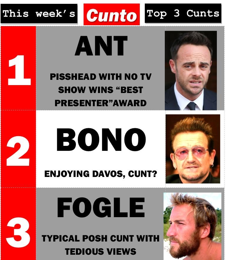 Ant Mc Partlin, Bono, Ben Fogle