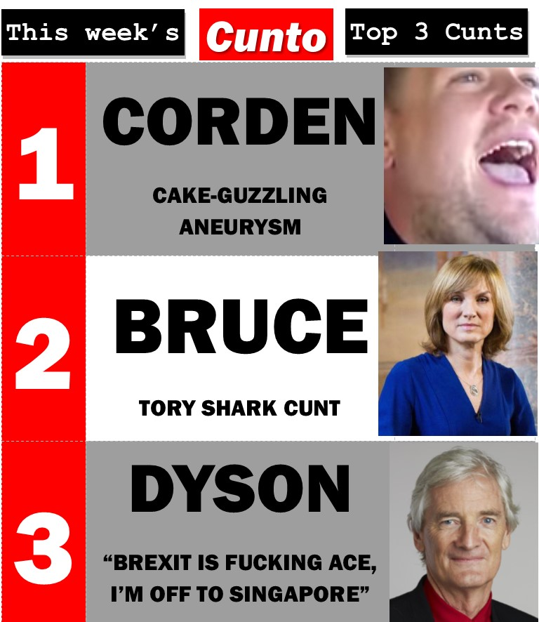 Cunts of the Week: James Corden, Fiona Bruce, JAmes Dyson