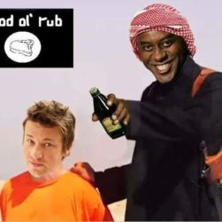Ainsley Harriot about to decapitate Jamie Oliver