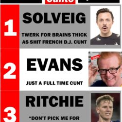 Top 3 Cunts of The Week - Solveig, Evans, Ritchie
